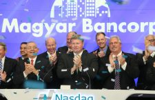 Magyar Bank's management at the Nasdaq stock exchange.