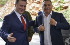 Former Macedonian Prime Minister Nikola Gruevski (L) welcomes Hungarian Prime Minister Viktor Orban (R) in Ohrid, The Former Yugoslav Republic of Macedonia, 28 September 2017. Hungarian  Prime Minister Viktor Orban arrived in Ohrid to meat the leader of  opposition VMRO DPMNE and Former PM  Nikola Gruevski on the start of election campaign for the local election. Macedonia will vote for the local election on 15 October 2017.  EPA-EFE/ALEKSANDAR KOVACEVSKI