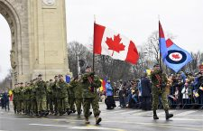 Canadian soldiers celebrate Romania's National Day on December 1, 2018.