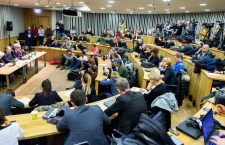 Journalists and observers listen to a news conference on Monday at CEU about the university's forced move to Vienna.