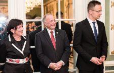Ambassador Szemerkényi, Rep. Steve King and Foreign Minister Péter Szijjártó at the Hungarian Embassy opening.