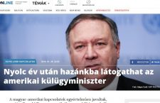 Hungarian headline of upcoming Pompeo visit