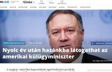 Hungarian headline of upcoming Pompeo visit