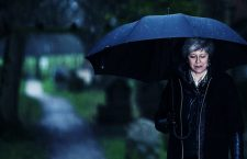 Theresa May walking in the rain after church.