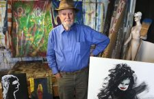 Ferlinghetti in his studio