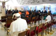 Back Seat: Pope Francis with Argentinians in the chapel of Casa Santa Marta. Photo source: Franciscan Ponderings