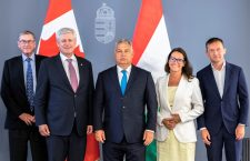 Family photo - Lord Ashcroft (left), Mr. Harper, Mr. Orbán, Ms. Novák and Mr. Rogán.
