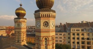 View of Central Budapest from the Dohány Street Synagogue.