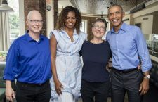 Steven Bognar (left) and Julia Reichert with the Obamas