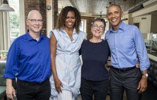 Steven Bognar (left) and Julia Reichert with the Obamas