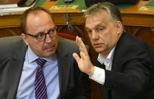 Mr. Zsolt Németh (left) and Viktor Orbán.  Németh has lost influence in his Fidesz party.
