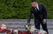 President of Ukraine, Volodymyr Zelensky pays respect to the victims of fascism