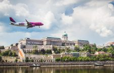 Wizz Air flying over Budapest