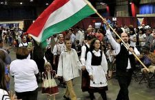Pastor Debreczeni with the Hungarian flag in Phoenix AZ