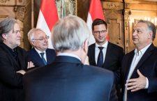 Steve Bannon (far left) with Viktor Orbán (far right) in the Hungarian Parliament.