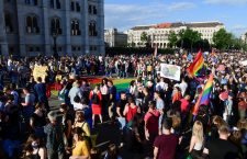 Protest in Budapest against Fidesz's homophobic law. Photo: MTI.